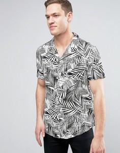 Рубашка классического кроя с принтом пальм New Look - Белый