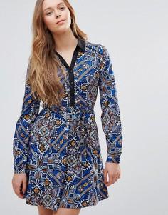 Платье на пуговицах спереди Yumi - Темно-синий