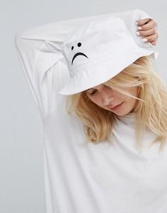 Панама с вышивкой в виде грустного смайлика Adolescent - Белый