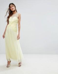 Платье макси с декоративной отделкой и вырезом сердечком Little Mistress - Желтый