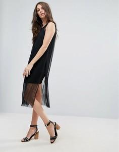 Платье с сетчатым верхним слоем Vero Moda - Черный
