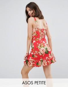 Легкое платье мини со шнуровкой на спине и оборкой на подоле ASOS PETITE - Мульти