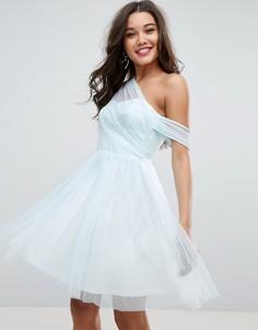 Сетчатое платье мини для выпускного на одно плечо ASOS - Розовый