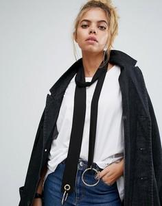 Зауженный шарф с отделкой кольцами ASOS - Черный