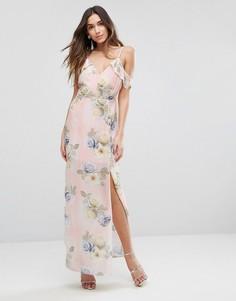 Платье макси с открытыми плечами и цветочным принтом New Look - Розовый