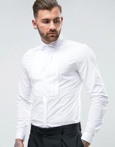 Узкая эластичная рубашка с плиссированной вставкой на груди ASOS WEDDING - Белый