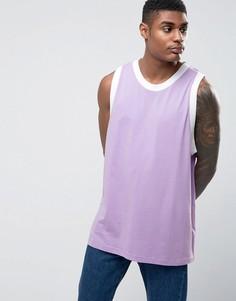 Фиолетово-белая oversize-майка с отделкой в рубчик ASOS - Фиолетовый