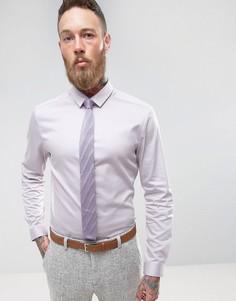 Серо-сиреневая узкая атласная рубашка ASOS Wedding - Фиолетовый
