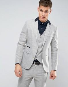 Светло-серый пиджак скинни с цветочным принтом на подкладке ASOS - Бежевый