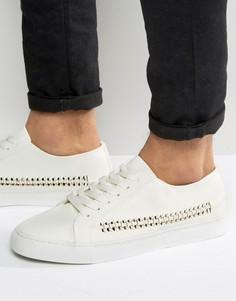 Белые кроссовки на шнуровке с плетеной отделкой ASOS - Белый