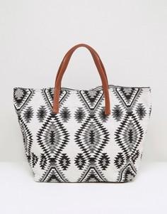 Монохромная пляжная сумка-тоут Pieces - Черный