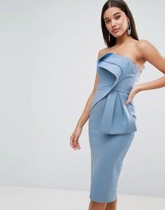 Платье-бандо миди с бантом ASOS - Синий