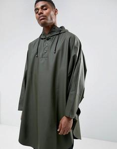 Зеленая водонепроницаемая куртка-пончо с капюшоном Rains - Зеленый