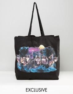 Черная сумка-тоут с волками Reclaimed Vintage - Черный
