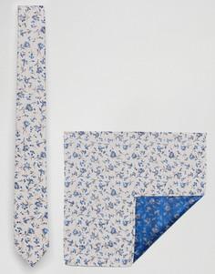 Галстук и платок для нагрудного кармана с цветочным принтом Burton Menswear - Кремовый
