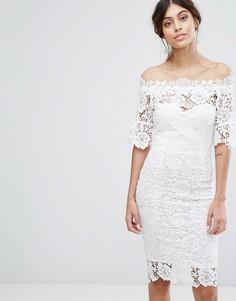 Кружевное платье миди с открытыми плечами Paper Dolls - Белый