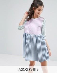 Свободное платье со вставками в полоску ASOS PETITE - Мульти