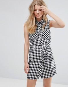 Платье-рубашка в клеточку с поясом J.D.Y - Мульти JDY