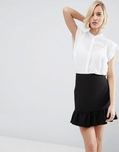 Блузка с оборками на плечах ASOS - Белый