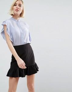 Блузка с оборками на плечах ASOS - Синий