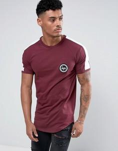 Бордовая футболка с полосой на рукавах Hype - Красный