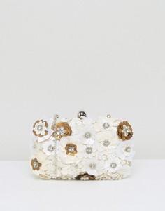 Жесткая сумка-клатч овальной формы с объемной цветочной отделкой True Decadence - Белый