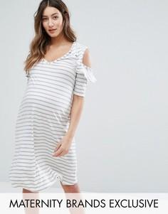 Платье в полоску с вырезами на плечах Bluebelle Maternity - Мульти
