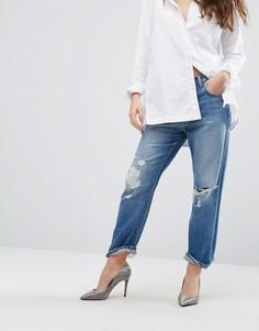 Укороченные рваные джинсы бойфренда с завышенной талией J Brand Ivy - Синий