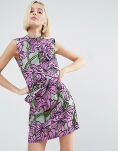 Цельнокройное платье с крупным цветочным принтом и оборками ASOS Made In Kenya - Мульти