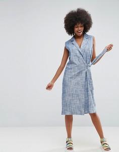 Платье с запахом из ткани шамбре ASOS Made In Kenya - Синий