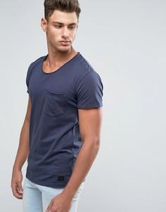Темно-синяя футболка с карманом Minimum Bradley - Темно-синий