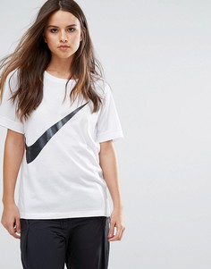 Белая футболка с логотипом-галочкой Nike - Белый