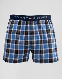 Синие тканые боксеры в клетку Tommy Hilfiger - Красный