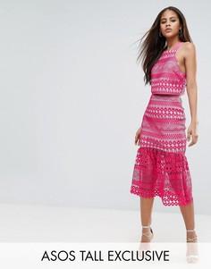 Кружевная юбка миди с оборкой на подоле ASOS TALL - Розовый