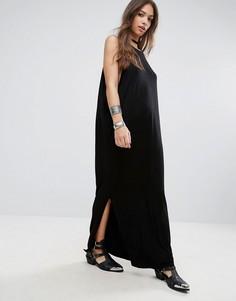 Платье макси с разрезом сбоку NYTT - Черный