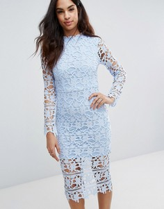 Кружевное платье миди со вставками Boohoo - Синий