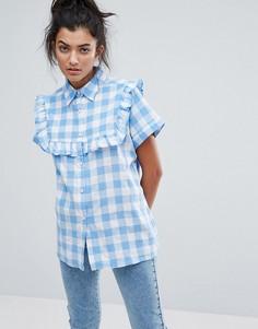 Рубашка в клеточку с рюшами Lazy Oaf - Синий
