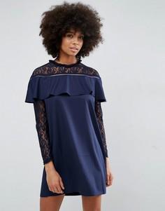 Платье с кружевом и рюшами Unique21 - Темно-синий