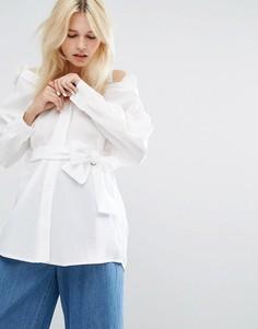Oversize-блузка с открытыми плечами и завязкой на талии J.O.A - Белый J.O.A.