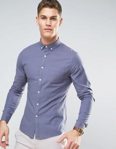 Серая оксфордская рубашка скинни с воротником на пуговицах ASOS - Серый