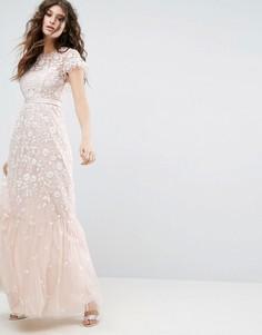 Платье макси из тюля с вышивкой Needle & Thread Meadow - Розовый