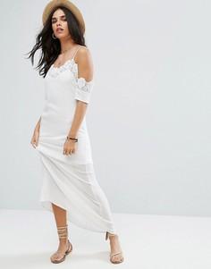 Платье макси с кружевной отделкой Raga Lotus - Белый