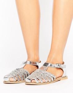 Кожаные туфли с плетеной отделкой ASOS JOURNAL - Серебряный