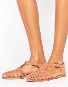 Замшевые туфли с плетеной отделкой ASOS JOURNAL - Оранжевый