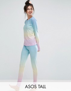 Пижамный комплект из лонгслива с эффектом деграде и леггинсов ASOS TALL - Мульти