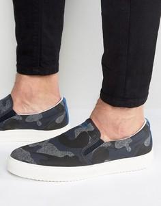 Темно-синие кеды-слипоны с камуфляжным принтом Armani Jeans - Темно-синий