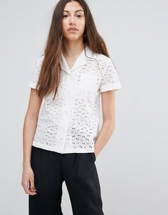 Рубашка с вышивкой ришелье YMC - Белый