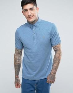 Синяя меланжевая футболка-поло с коротким рукавом Farah Merriweather - Синий