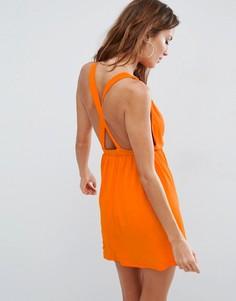 Пляжное трикотажное платье мини с перекрестной отделкой на спине ASOS - Оранжевый