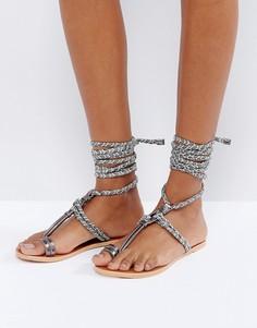 Кожаные сандалии с завязками ASOS FUN TIMES - Мульти
